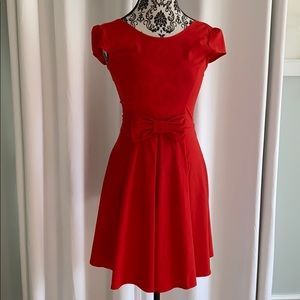 ModCloth Red Bow Swing Dress scoop neck cap sleeve